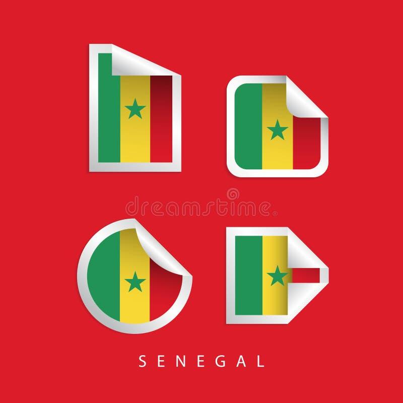 Les drapeaux de label du Sénégal dirigent l'illustration de conception illustration libre de droits