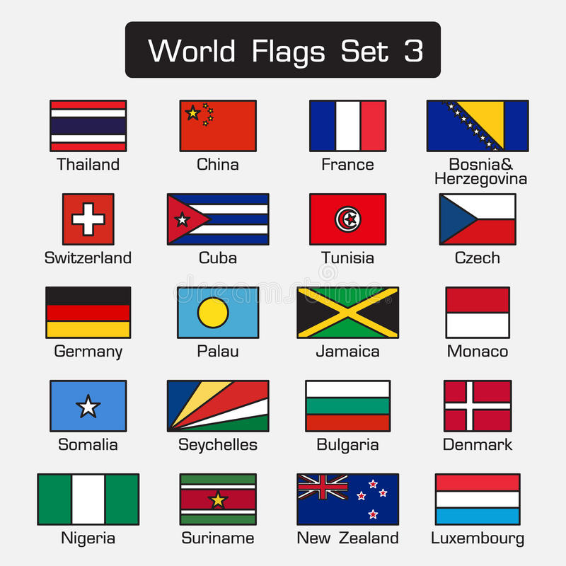 Les drapeaux du monde ont placé 3 style simple et conception plate contour épais illustration stock