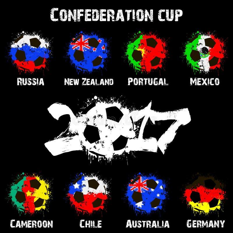 Les drapeaux du participant de pays de la confédération mettent en forme de tasse 2017 illustration stock