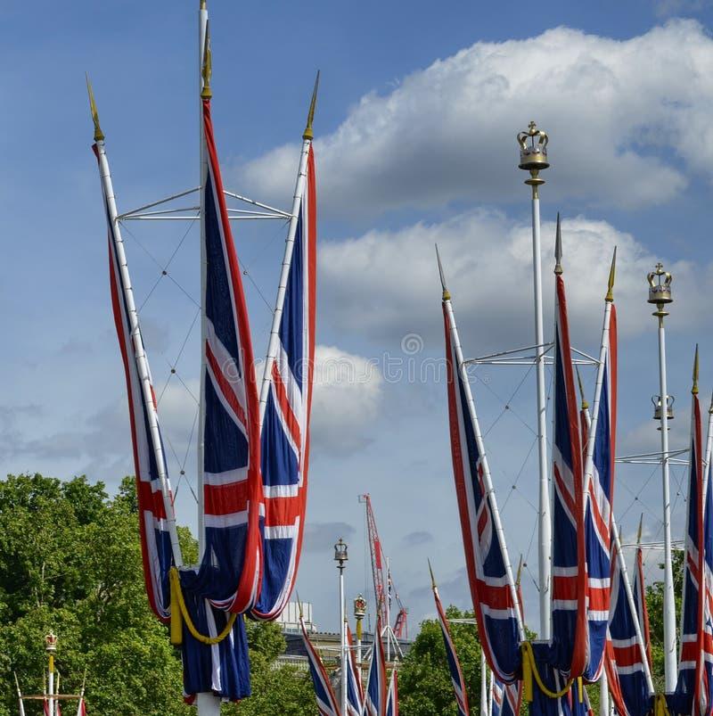 Les drapeaux du Royaume-Uni photographie stock