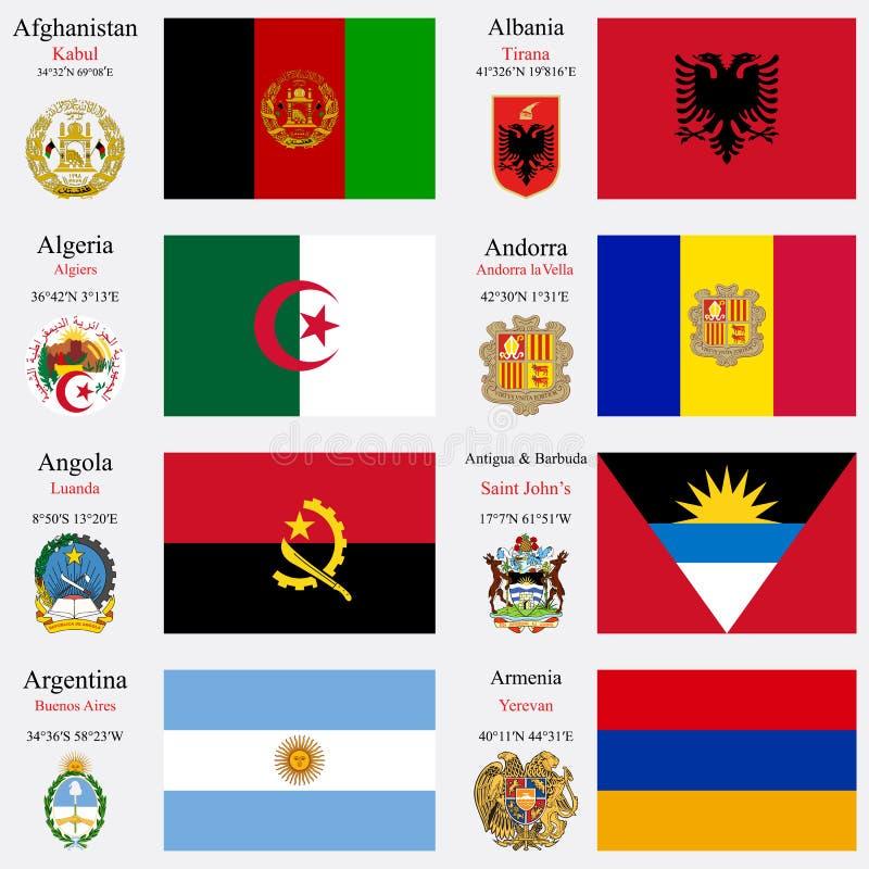 Les drapeaux et les capitaux du monde ont placé 1 illustration libre de droits