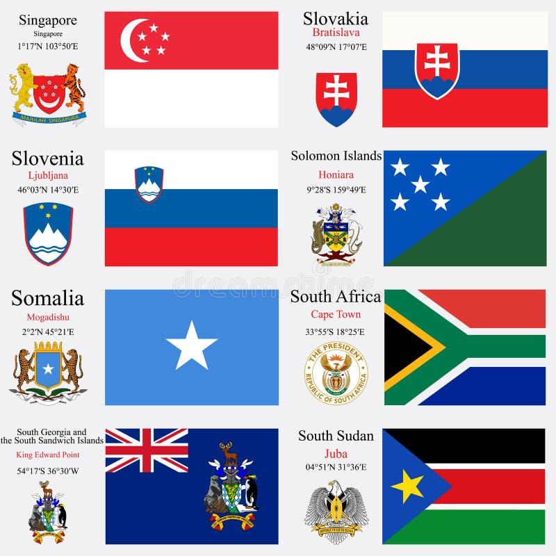 Les drapeaux et les capitaux du monde ont placé 22 illustration libre de droits
