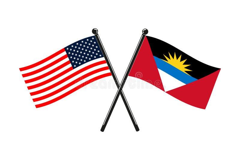 Les drapeaux nationaux de l'Antigua-et-Barbuda et des Etats-Unis ont croisé sur les bâtons illustration stock