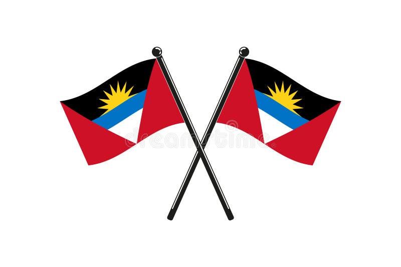 Les drapeaux nationaux de l'Antigua-et-Barbuda, ont croisé illustration stock
