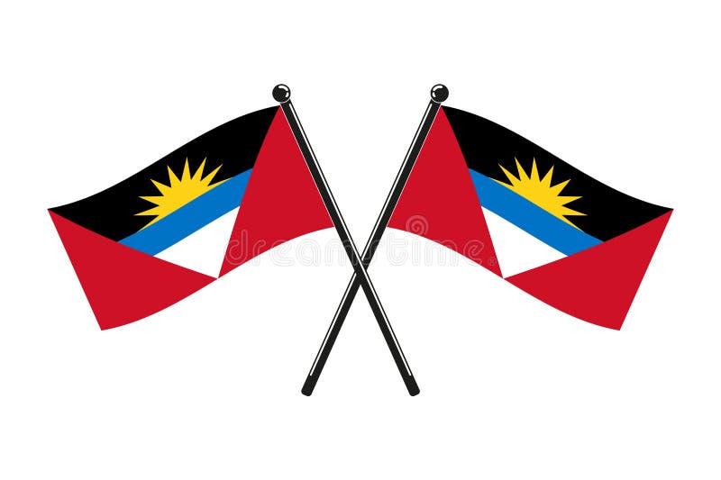 Les drapeaux nationaux de l'Antigua-et-Barbuda, ont croisé illustration libre de droits