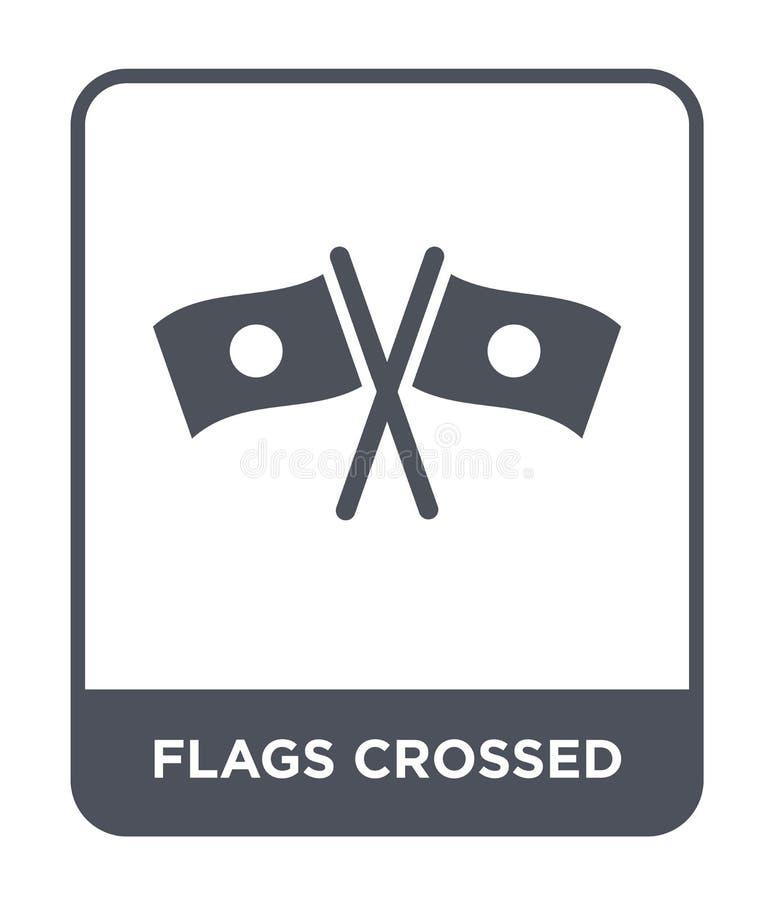les drapeaux ont croisé l'icône dans le style à la mode de conception les drapeaux ont croisé l'icône d'isolement sur le fond bla illustration stock