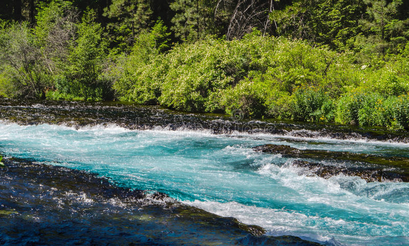 Les eaux bleues d'un courant de précipitation de montagne photographie stock