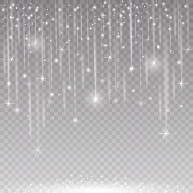 Les effets de la lumière rougeoyants de scintillement ont isolé réaliste Élément de conception de décoration de Noël Fusée de len illustration libre de droits