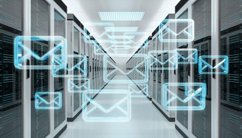 Les emails échangent au-dessus du rendu du centre de traitement des données 3D de pièce de serveur illustration stock