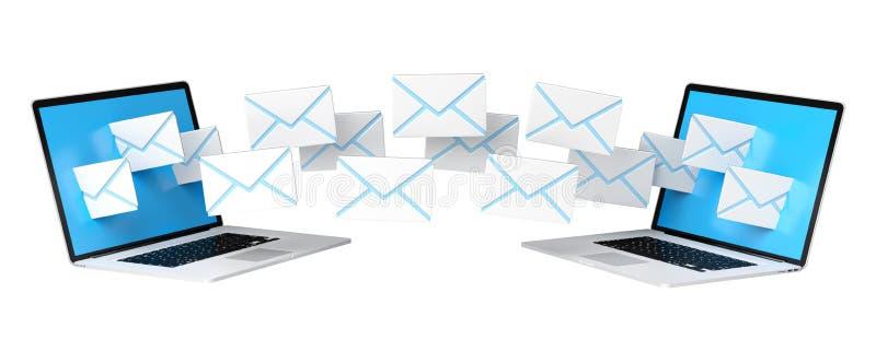 Les emails de Digital volant par des dispositifs examine le rendu 3D illustration de vecteur
