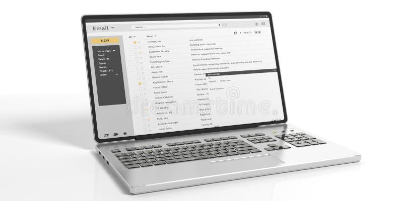 Les emails sur un ordinateur portable examinent d'isolement sur le fond blanc illustration 3D illustration stock