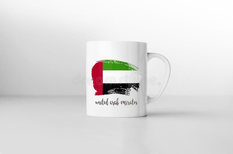 Les Emirats Arabes Unis diminuent sur la tasse de café blanc illustration stock
