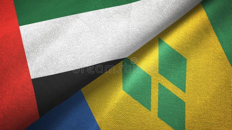 Les Emirats Arabes Unis et Saint-Vincent-et-les-Grenadines deux drapeaux illustration de vecteur