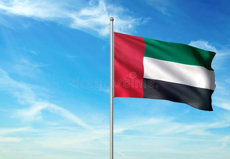 Les Emirats Arabes Unis marquent l'ondulation avec le ciel sur l'illustration 3d réaliste de fond illustration stock