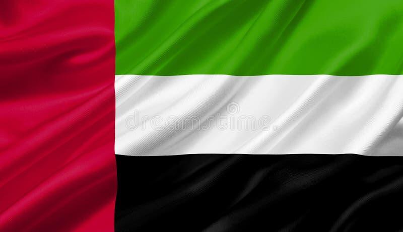 Les Emirats Arabes Unis marquent l'ondulation avec le vent, l'illustration 3D illustration libre de droits