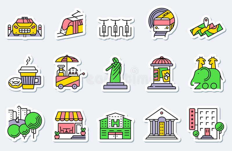 Les emplacements et les icônes de ville ont placé dans la ligne style simple et mince Vec illustration libre de droits