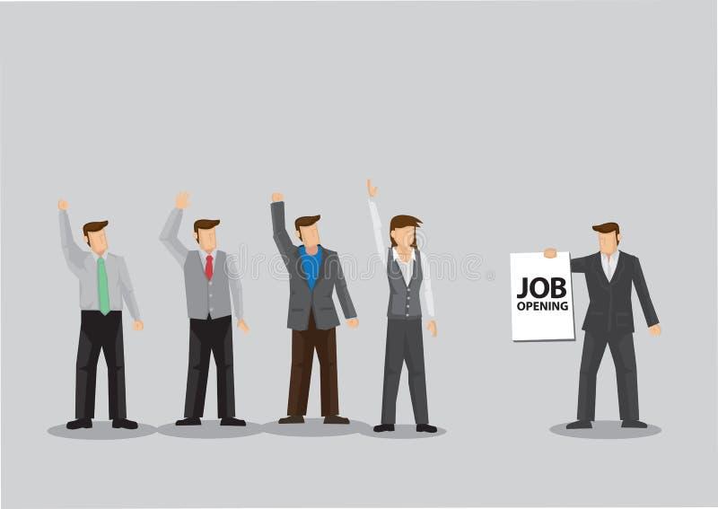 Les employés soulèvent des mains pour l'illustration de vecteur de bande dessinée d'occasion de création de nouveaux emplois illustration stock