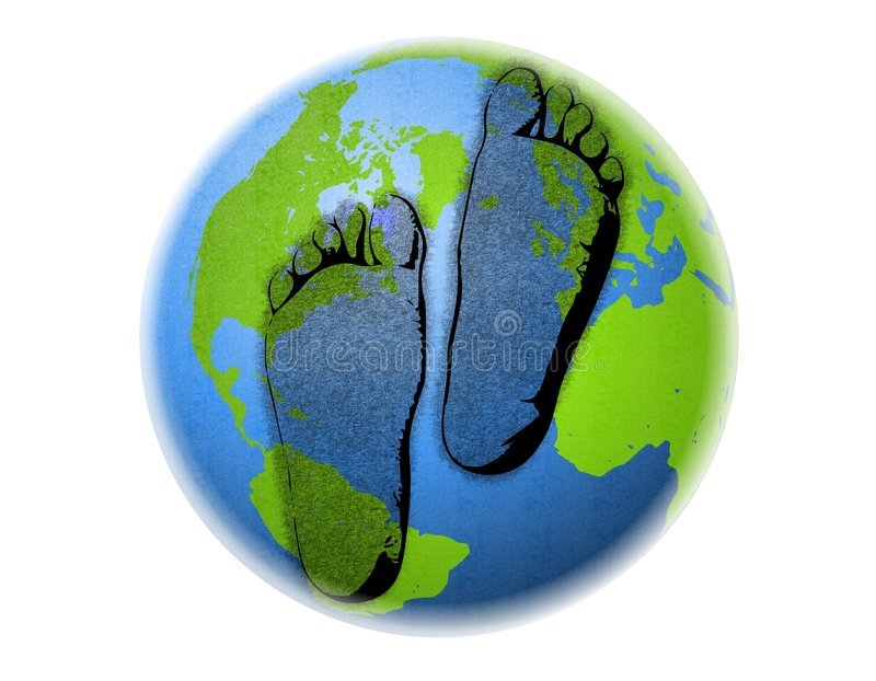 Les empreintes de pas de carbone mettent à la terre l'abstrait illustration stock