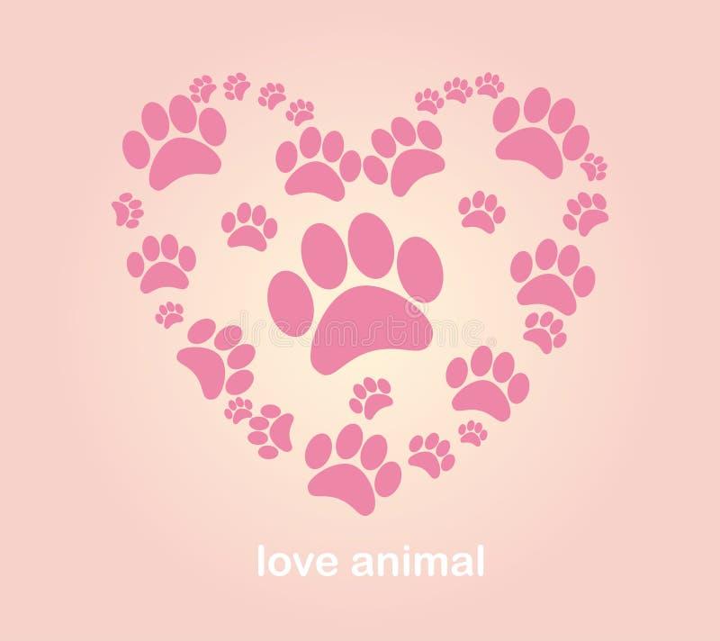Les empreintes de pas de l'animal de coeur illustration libre de droits