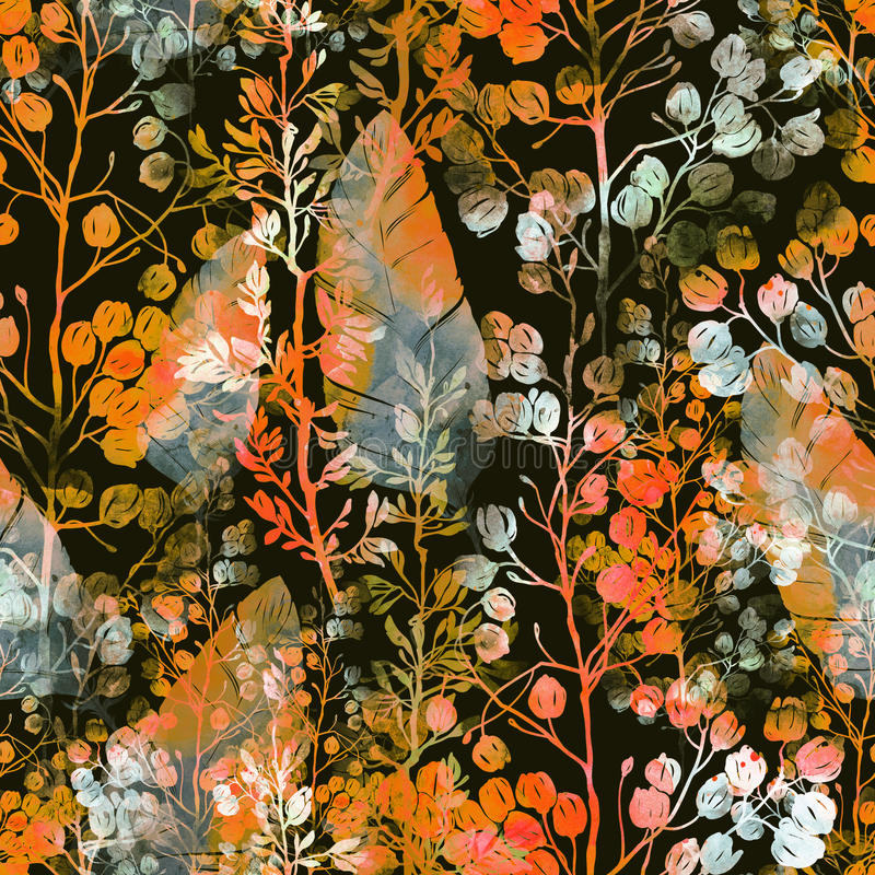 Les empreintes engazonnent et des plumes illustration stock