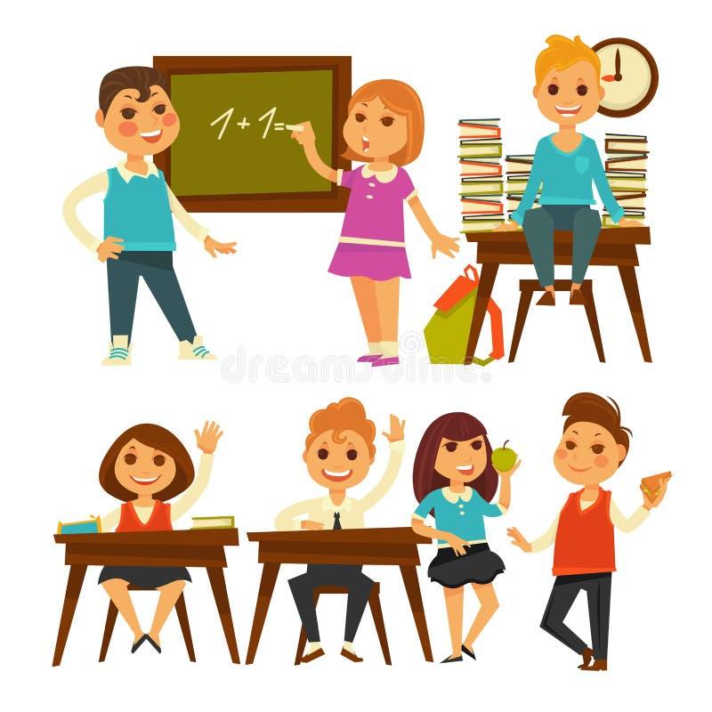 Les enfants à l'école apprenant des leçons dirigent les icônes d'isolement par appartement illustration de vecteur