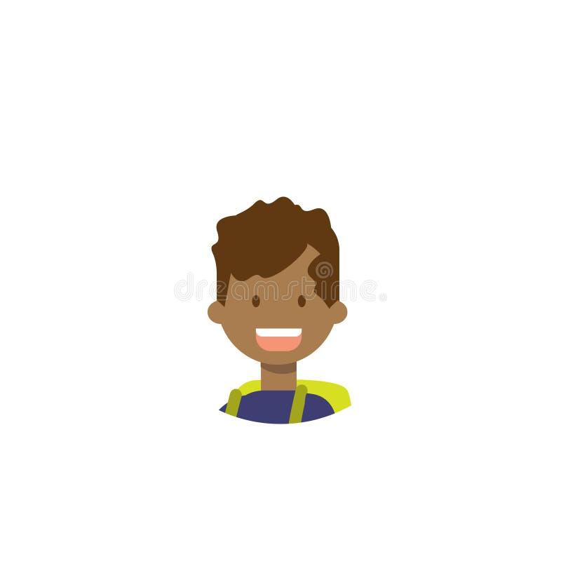 Les enfants africains font face au portrait heureux de garçon sur le fond blanc, appartement masculin d'avatar illustration de vecteur
