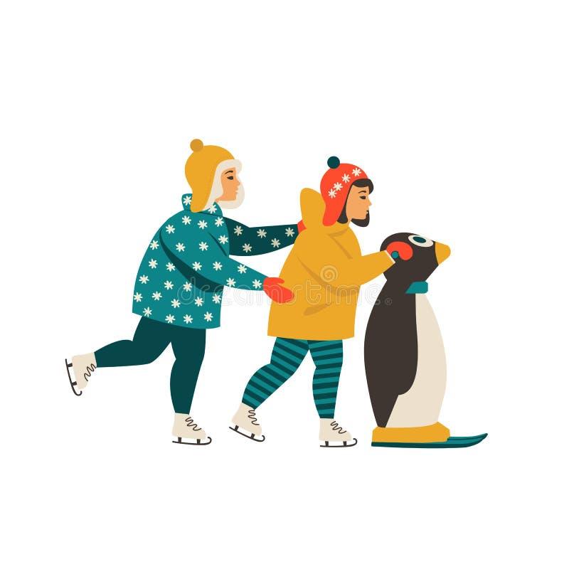 Les enfants apprennent le patinage de glace tout en se tenant dessus sur le pingouin illustration libre de droits