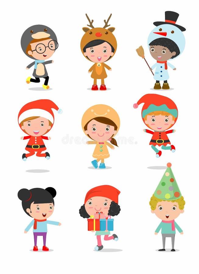 Les enfants avec des costumes de Noël, enfants avec des costumes de Noël placent, dirigent illustration de vecteur