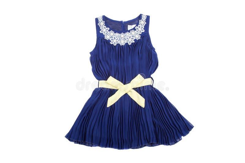 Les enfants bleus s'habillent avec le ruban de wellow, d'isolement sur le blanc photo stock