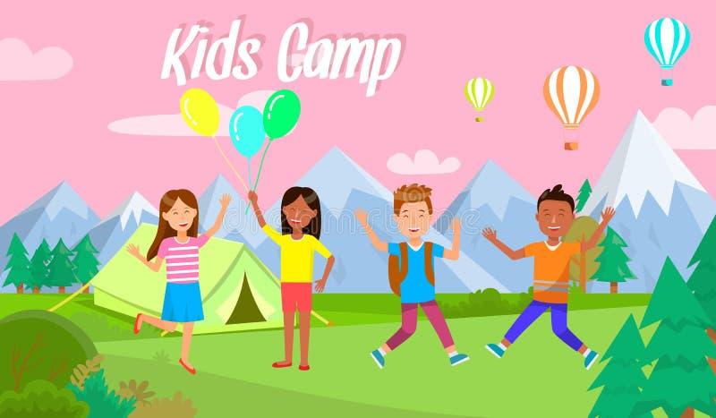 Les enfants campent camping heureux d'enfants de bannière horizontale illustration stock