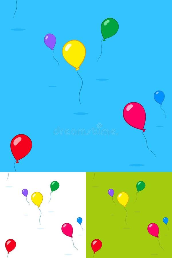 Les enfants colorés font la fête des ballons flottant dans le ciel illustration de vecteur