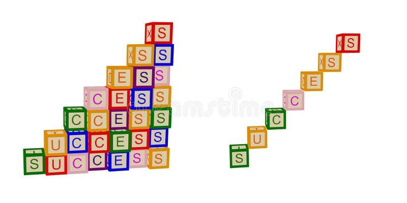 Les enfants colorent des cubes avec des lettres Réussite E escaliers Vecteur illustration stock