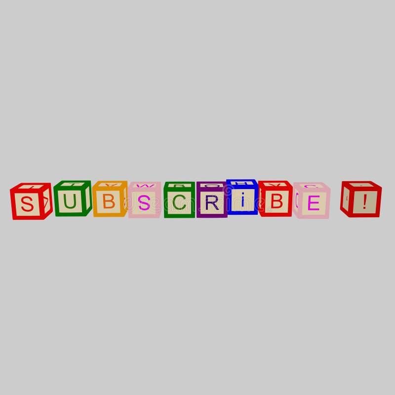 Les enfants colorent des cubes avec des lettres Souscrivez le mot Vecteur illustration de vecteur
