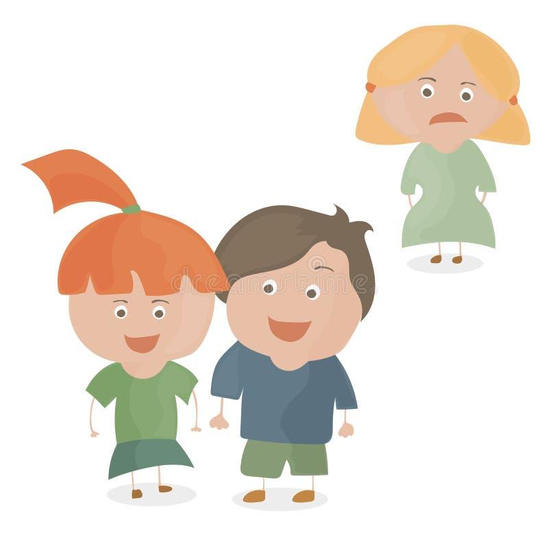 Les enfants couplent regarder l'un l'autre et la trahison de fille et le concept tristes de jalousie illustration libre de droits