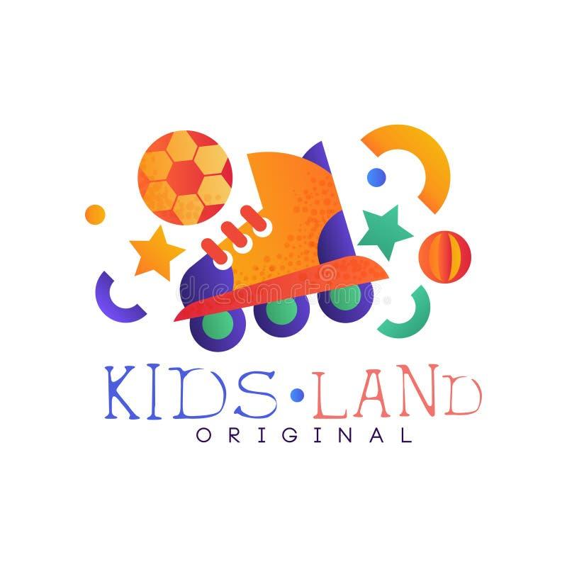 Les enfants débarquent l'original de logo, le rouleau créatif coloré de wirh d'insigne de calibre, de terrain de jeu, de divertis illustration stock