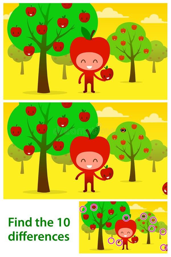 Les enfants déconcertent imprimable avec le verger mignon d'iin de pommes illustration stock