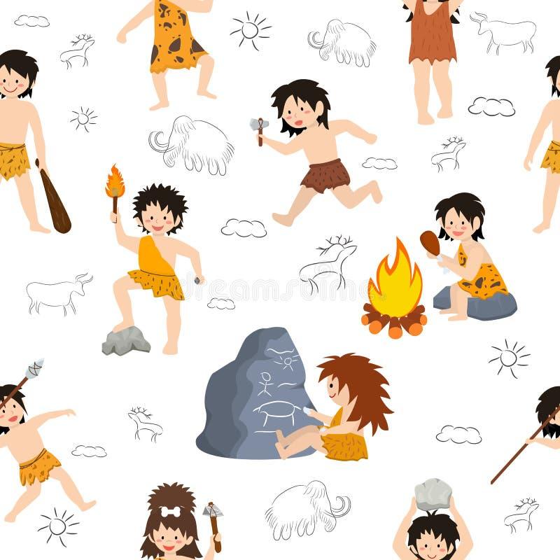 Les enfants d'homme des cavernes dirigent le caractère primitif d'enfants et l'enfant préhistorique avec l'arme lapidée sur l'ens illustration stock