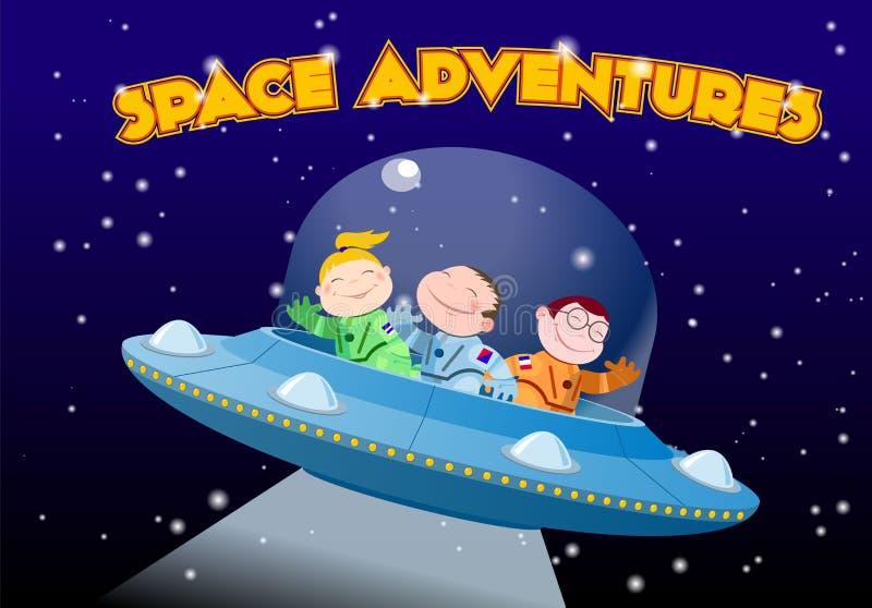 Les enfants dans des combinaisons spatiales montent le vaisseau spatial étranger illustration libre de droits