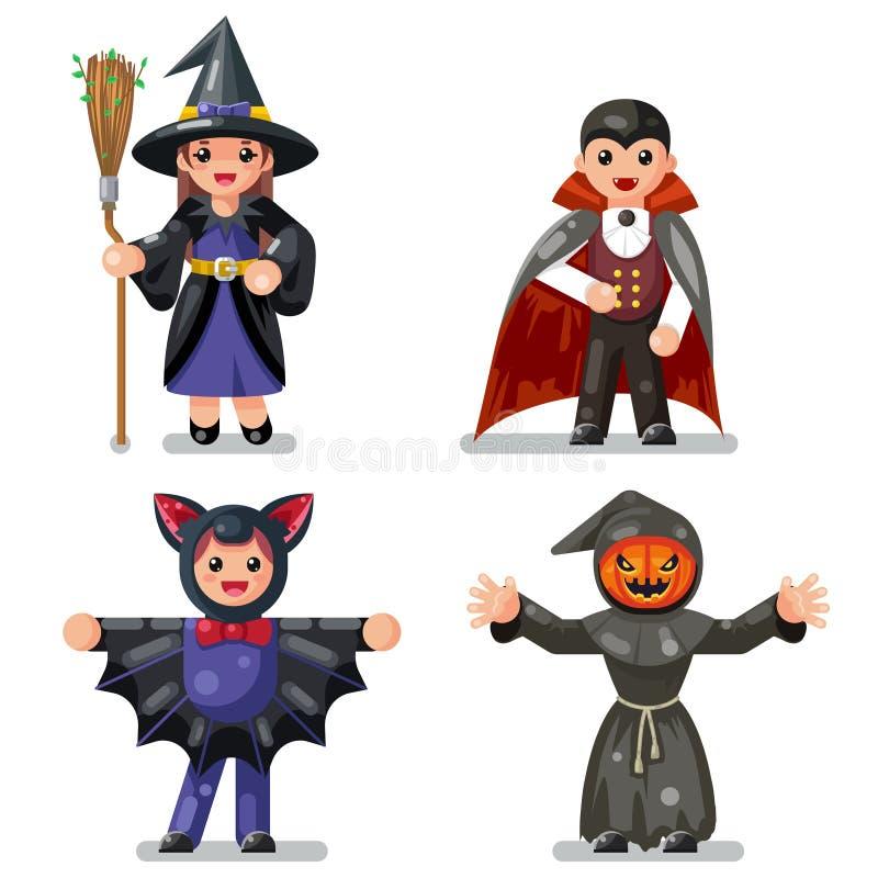 Les enfants de Halloween de costume déguisent l'illustration plate de vecteur de conception réglée par icônes de caractères d'enf illustration stock