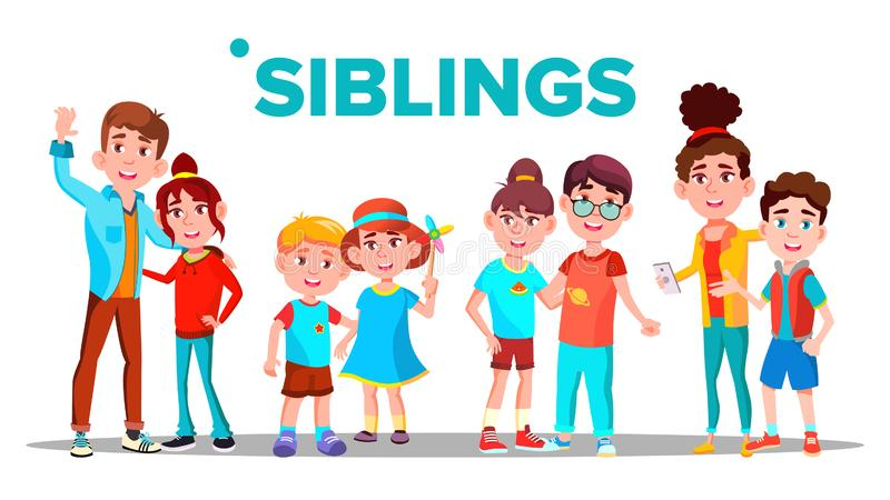 Les enfants de mêmes parents, les frères gais et les soeurs dirigent le concept de bannière illustration de vecteur