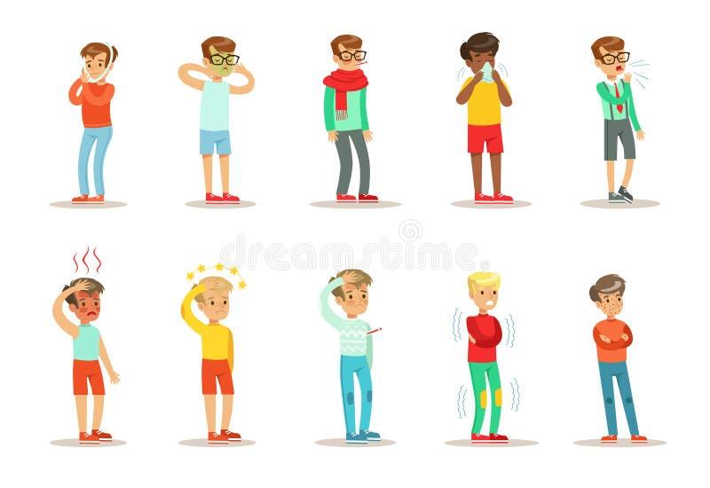 Les enfants de maladie ont placé, des garçons souffrant de différentes illustrations de vecteur de symptômes sur un fond blanc illustration libre de droits