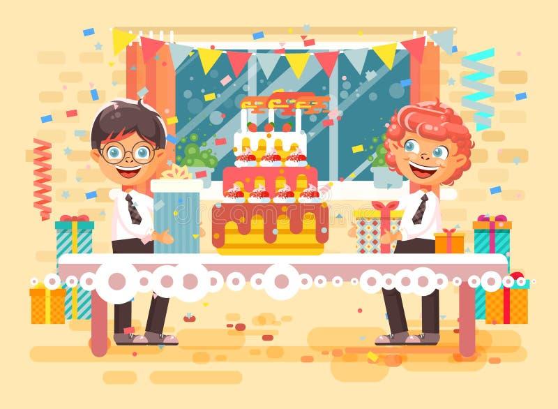 Les enfants de personnage de dessin animé d'illustration de vecteur deux amis que les garçons célèbrent le joyeux anniversaire, f illustration stock