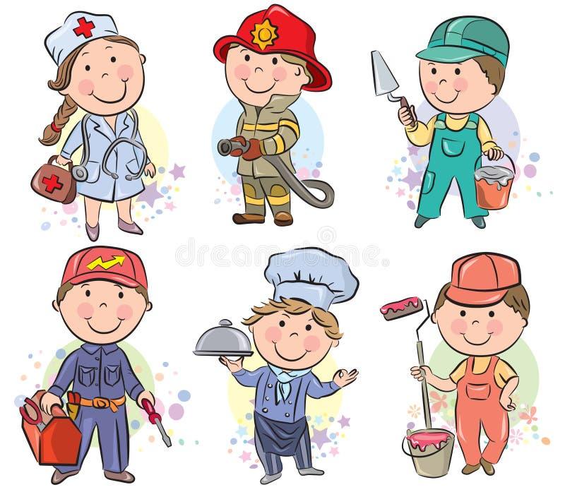 Les enfants de professions ont placé 3 illustration de vecteur