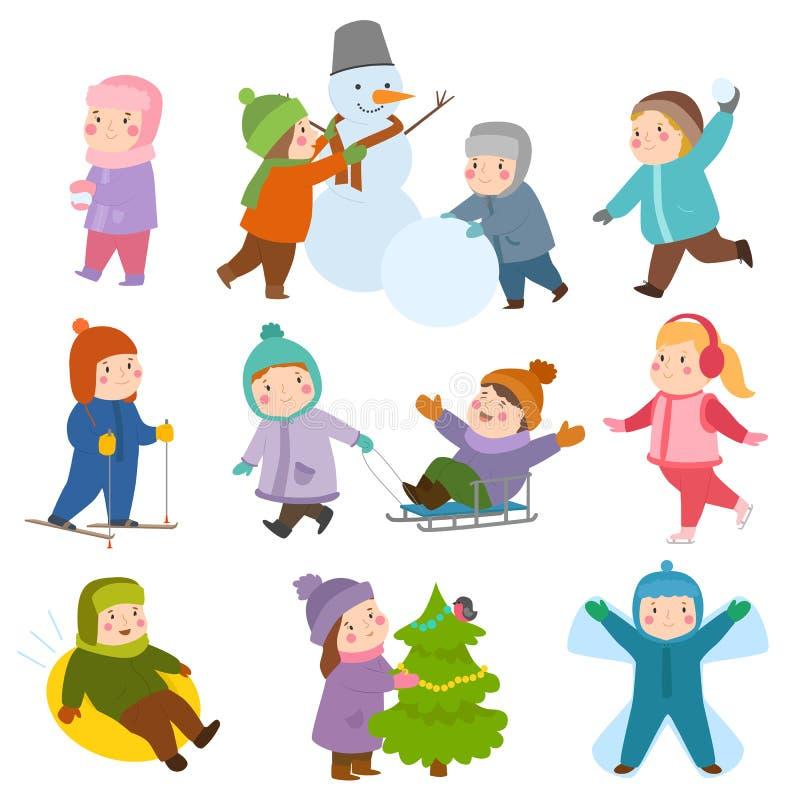 Les enfants de terrain de jeu de jeux de Noël d'hiver d'enfants jouant des jeux de sport des sortes lancent des boules de neige,  illustration libre de droits