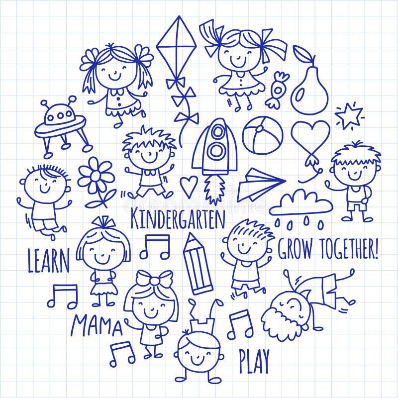 Les enfants dessinant le jardin d'enfants instruisent l'illustration heureuse de jeu d'enfants pour l'icône préscolaire d'enfants illustration de vecteur