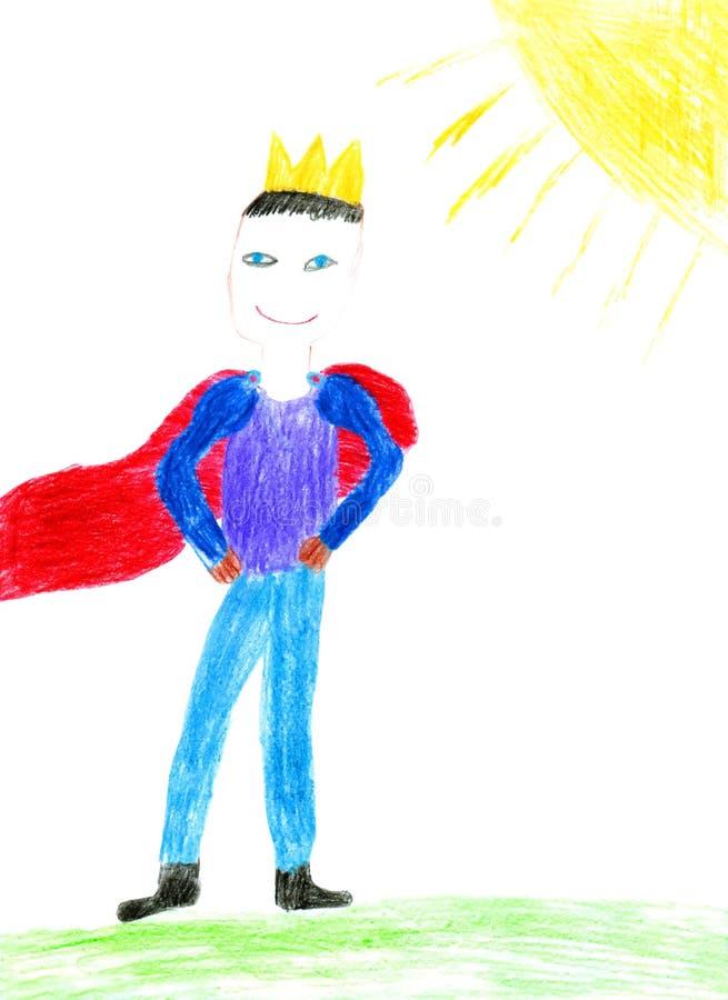 les enfants ferment la peinture drôle s de nature de roi vers le haut illustration stock