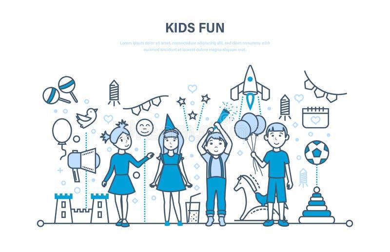 Les enfants font la fête d'intérieur Les enfants heureux, jeu, ont l'amusement Célébration solennelle illustration libre de droits