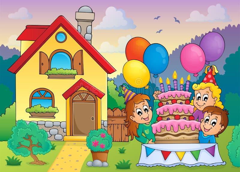 Les enfants font la fête près de la maison 1 illustration de vecteur