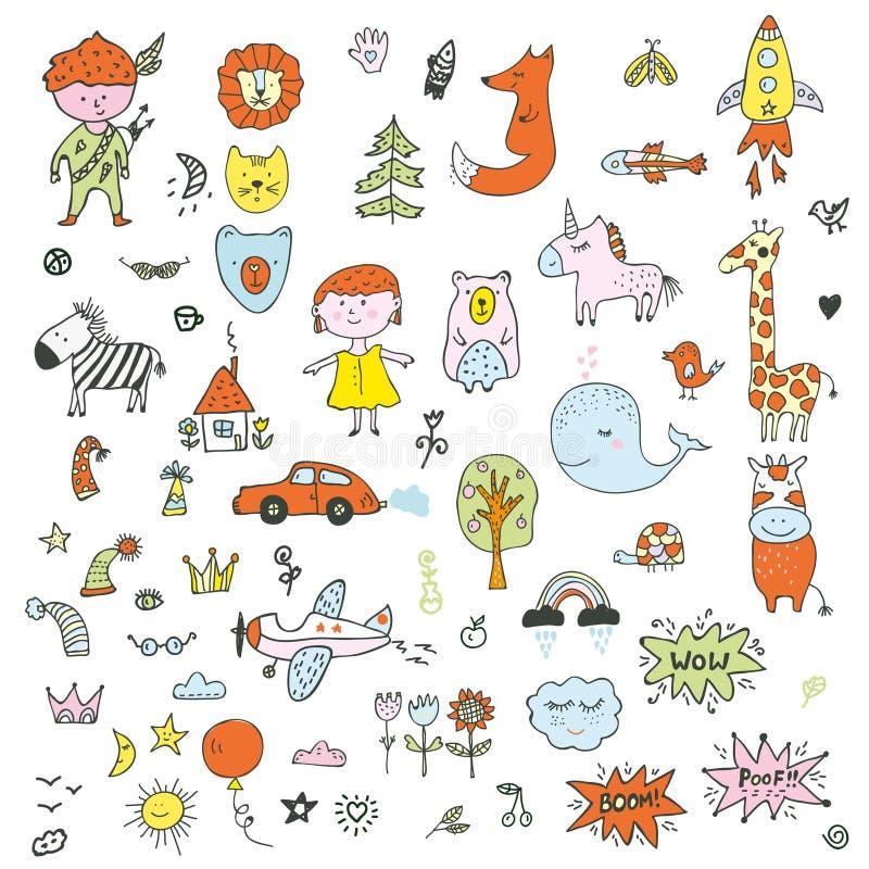 Les enfants gribouillent l'ensemble - dessin drôle des enfants, animaux, transport, nature Illustration de vecteur illustration de vecteur