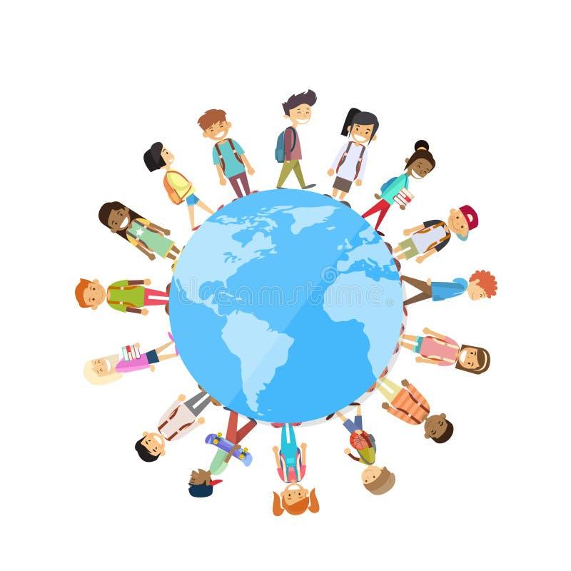 Les enfants groupent la position autour de l'unité du monde de globe illustration de vecteur